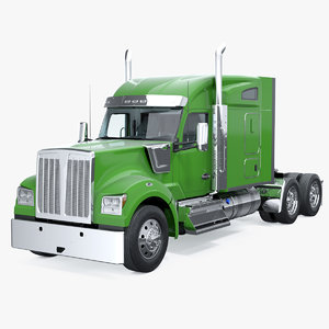 3D long hood truck generic