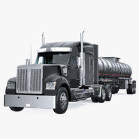 Long Hood Truck with Tank Trailer 3D Model