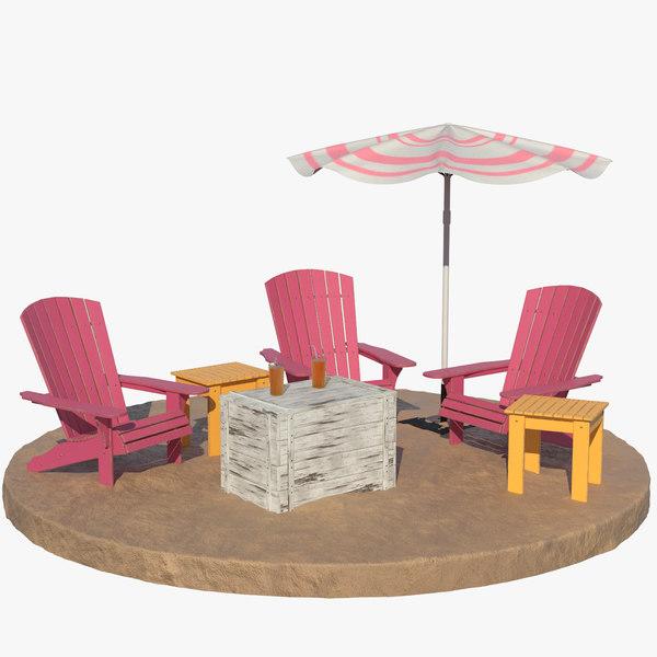 3D beach loungers
