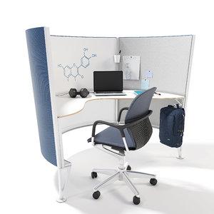 prospect solo space desk 3D model