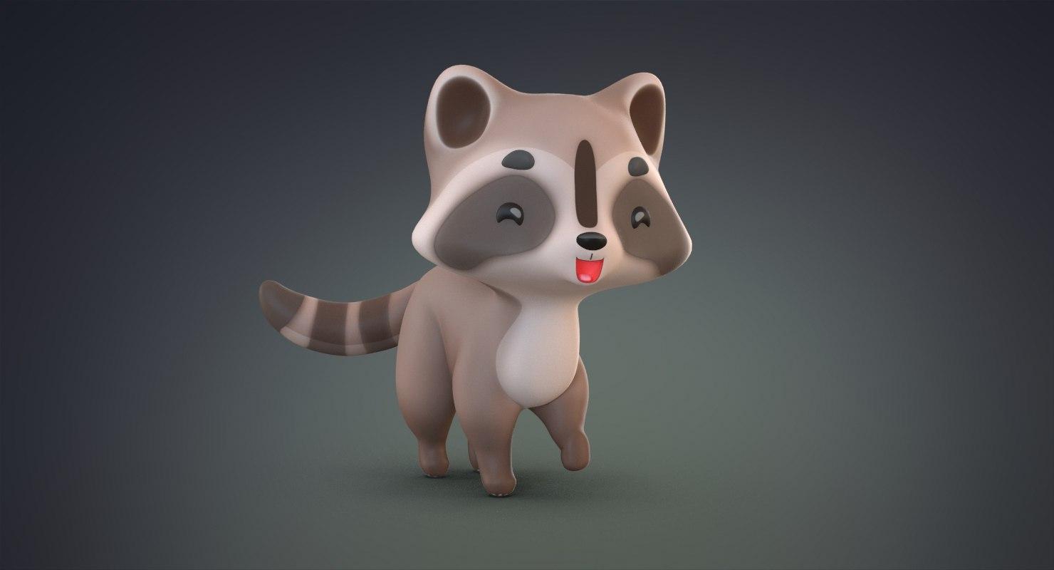 3D cute cartoon raccoon model