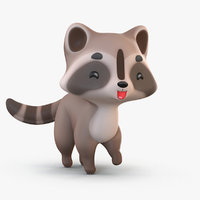 3D cute cartoon raccoon model
