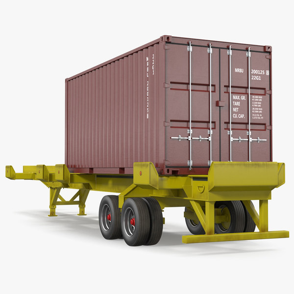 3D trailer 20ft iso container model