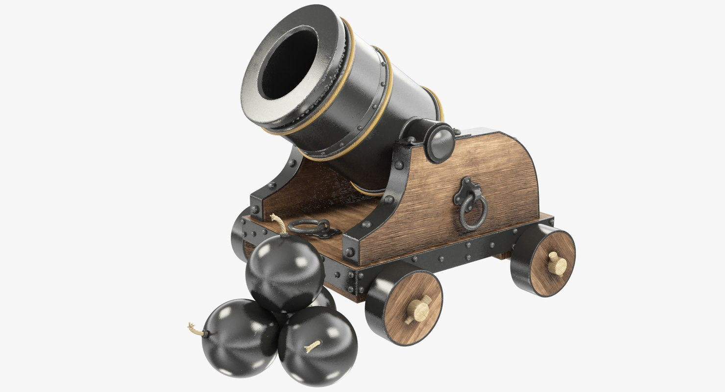 3D old cannon cannonballs model