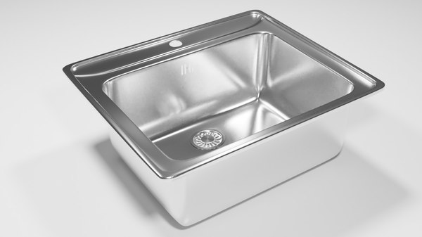 3D square kitchen sink