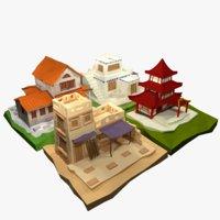 3D ancient cartoon houses