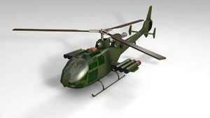 3D model military gazelle helicopter