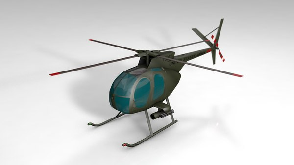 3D oh-6 army helicopter