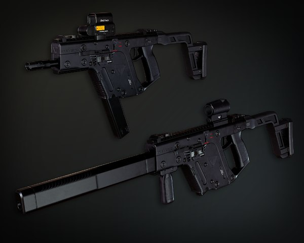 3D pbr vector submachine gun