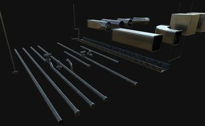 3D model modular pipes gutter