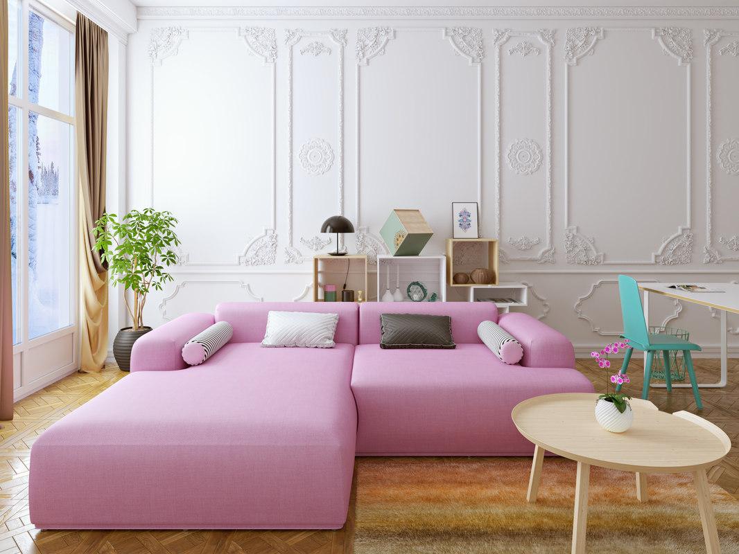 3D interior pink model
