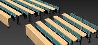 lecture theatre chairs desks 3D