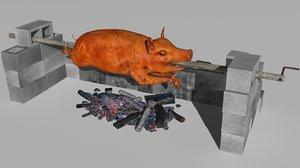spit roast 3D model