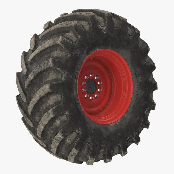 3D model tractor big dirty wheel
