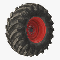 3D model tractor big dirty wheel
