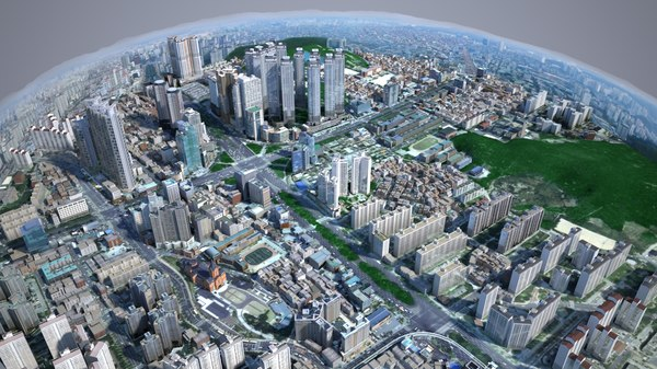 3D urban building backgrounds korean