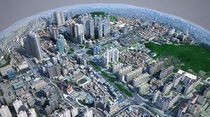 3D urban building backgrounds korean