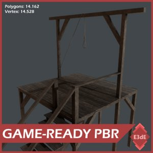 3D model western gallows