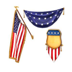 american flags pack 3D model