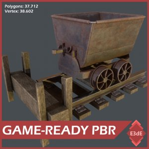 mining cart railway 3D