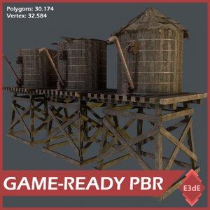 old wooden reservoirs 3D model