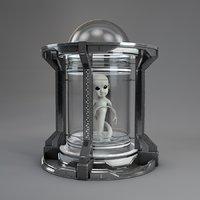 3D scifi incubator alien
