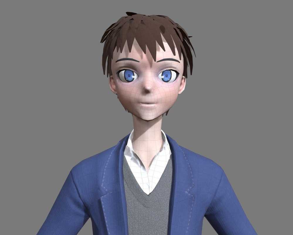 3D cartoon character manga boy model
