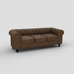 3D model sofa leather benjamin