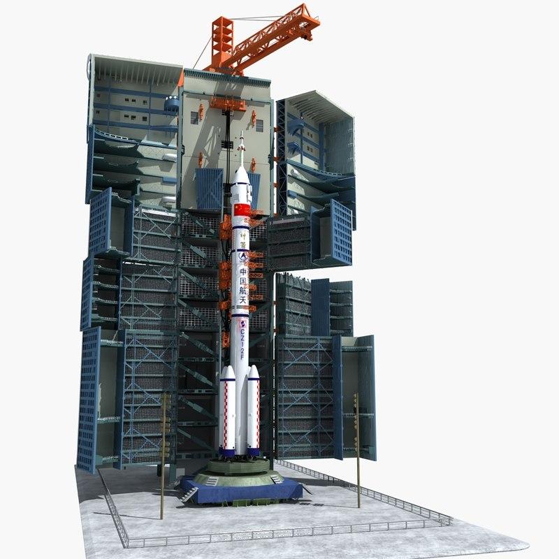satellite rocket launch site 3D