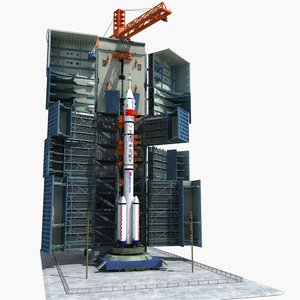 satellite rocket launch site 3D