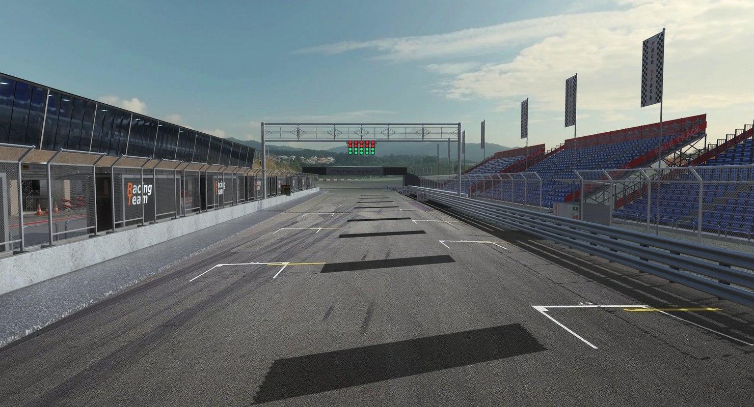 3D low-poly race track construction kit model