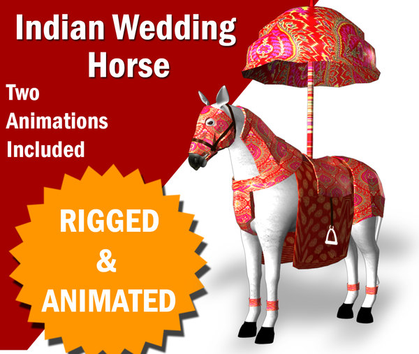 3D indian wedding horse animations
