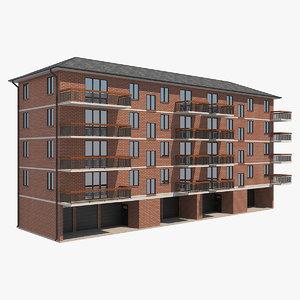 3D apartment building 19 model
