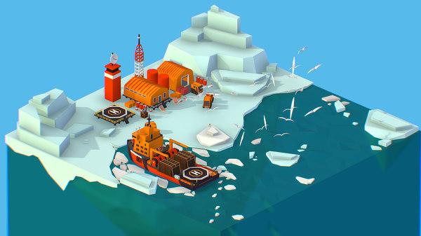 isometric polar station north 3D model