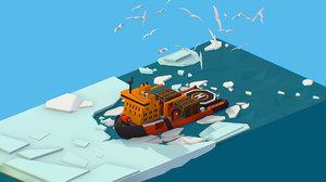 3D isometric boat breaking ice model