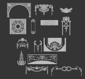 3D model decoration elements -1 -14