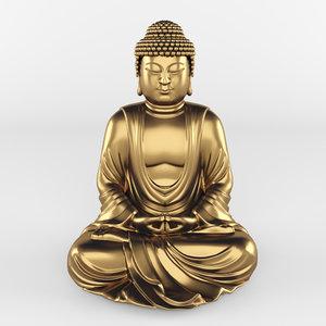 3D model statue buddha meditation