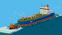 Isometric Boat breaking Ice, Oil Tanker, Icebreaker