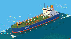isometric boat ship oil tanker model
