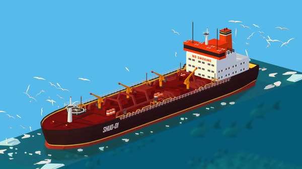 3D isometric boat ship red model