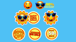 cartoon logo sunglasses summer 3D model