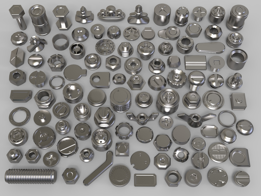 bolts knobs 106 pieces 3D model
