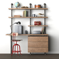 Induatrial Pipe Single Desk & Shelving with Drawers