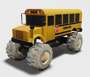school bus monster 3D model