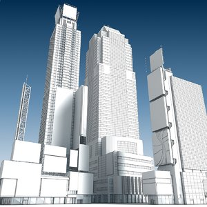 square buildings 3D model