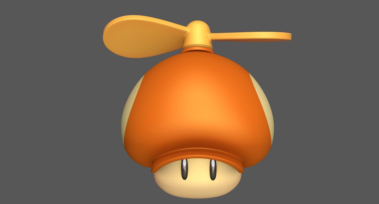 propeller mushroom toad super mario 3D model
