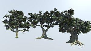 set ash trees 3D model
