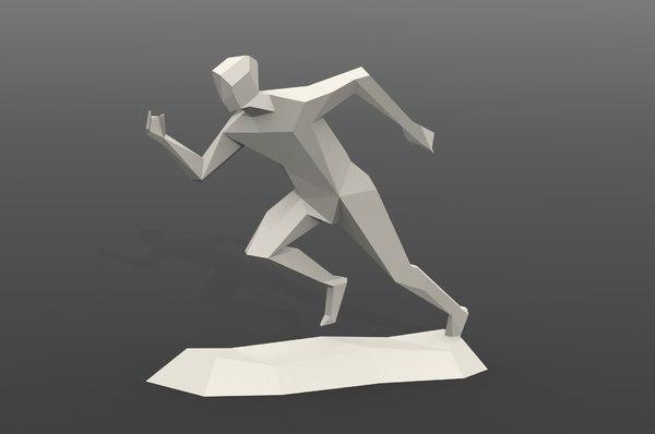 3D running man statue model