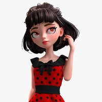 cartoon brunette girl 3D model