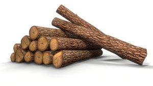 pine decks logs - 3D model